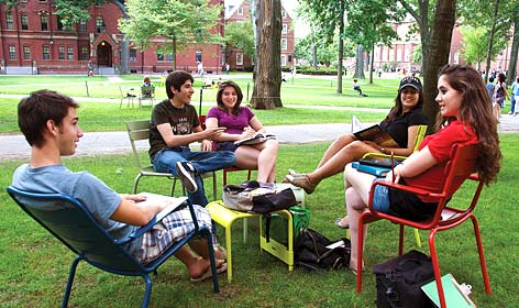 college students gathered on the lawn